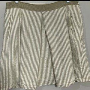 Banana Republic Skirt Khaki & White Striped SZ 10